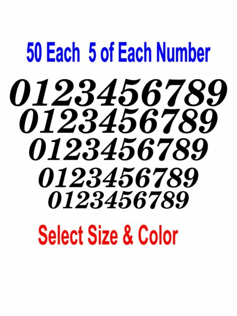 0-9 Numbers 50 ea Italic Fancy Vinyl Sticker Decals Helmet FN2 - Color &  Size