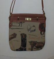 Horses Purse Tapestry Handbag Zips Brown Adjustable Strap Boots Stirrups Hat