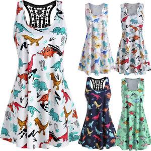 Women-Sexy-Sleeveless-Dinosaur-Print-O-Neck-Lace-Hollowed-Tank-Short-Mini-Dress
