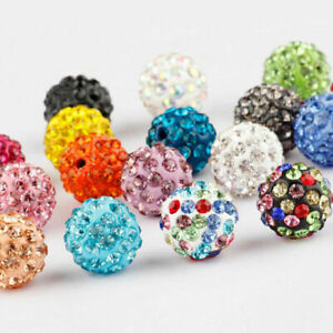 20-40PCS-Czech-Crystal-Rhinestones-Pave-Clay-Round-Disco-Ball-Spacer-Bead-6-12MM