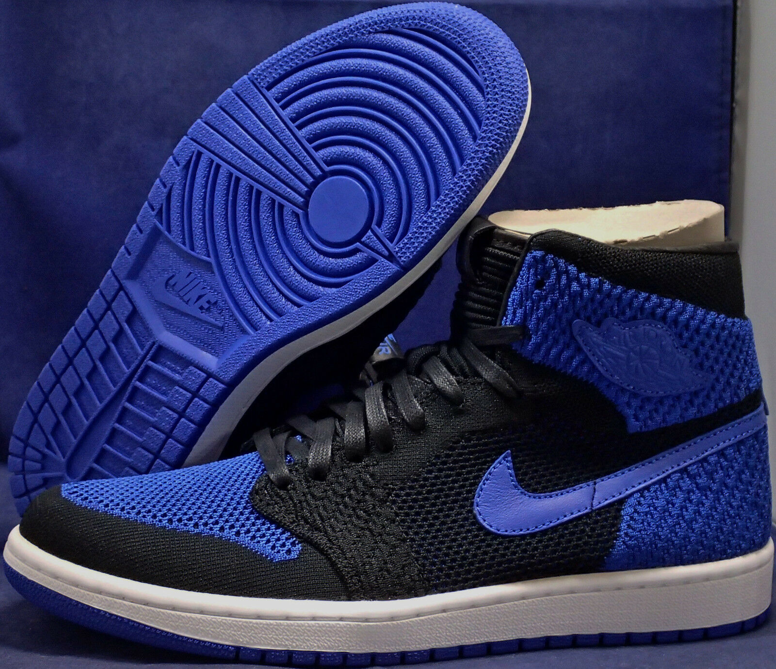 brand new 3dc37 4c6ba Nike Air Jordan 1 Retro Hi Flyknit Black Game Royal Royal Royal High SZ 9.5  (
