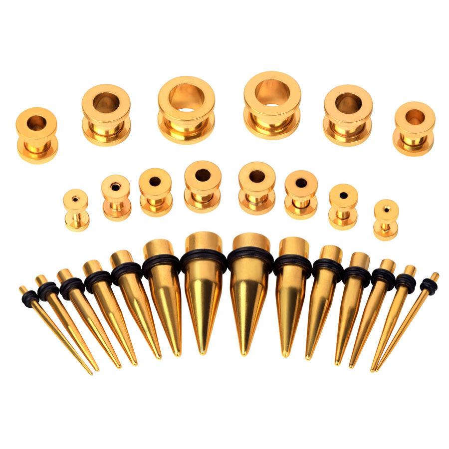 28pcs Ear Gauges Kit Single Flared Tunnels Plug Stretching Taper Set 12Ga-00GaAD