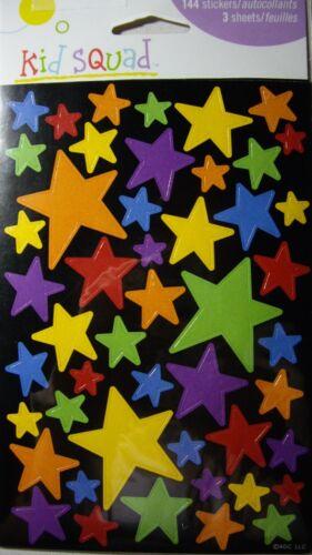 NEW STARS Star Purple Yellow Blue Orange Green Red KID SQUAD STICKERS 144 pc