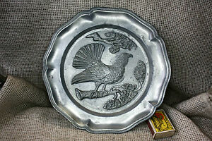 OLD VINTAGE 1960`s GERMAN ORNATE PEWTER WALL DECOR PLATE ...