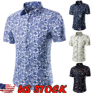 Fashion-Men-039-s-Summer-Casual-Dress-Slim-Fit-Shirt-Short-Sleeve-Shirts-Tops-Tee