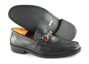 Green Ribbon Black Leather Loafers Size