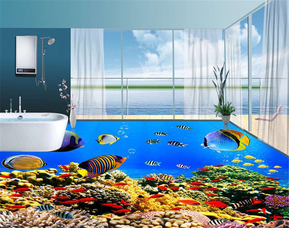 Tropical Fish 3D Floor Mural Photo Flooring Wallpaper Home Print Decoration