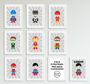 Cute Superhero Boys Bedroom Prints / Home Decor Ideas / Personalised ...