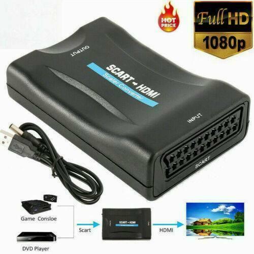 Scart auf HDMI Konverter Wandler AV Scaler Converter KG 1080P TV Adapter HD