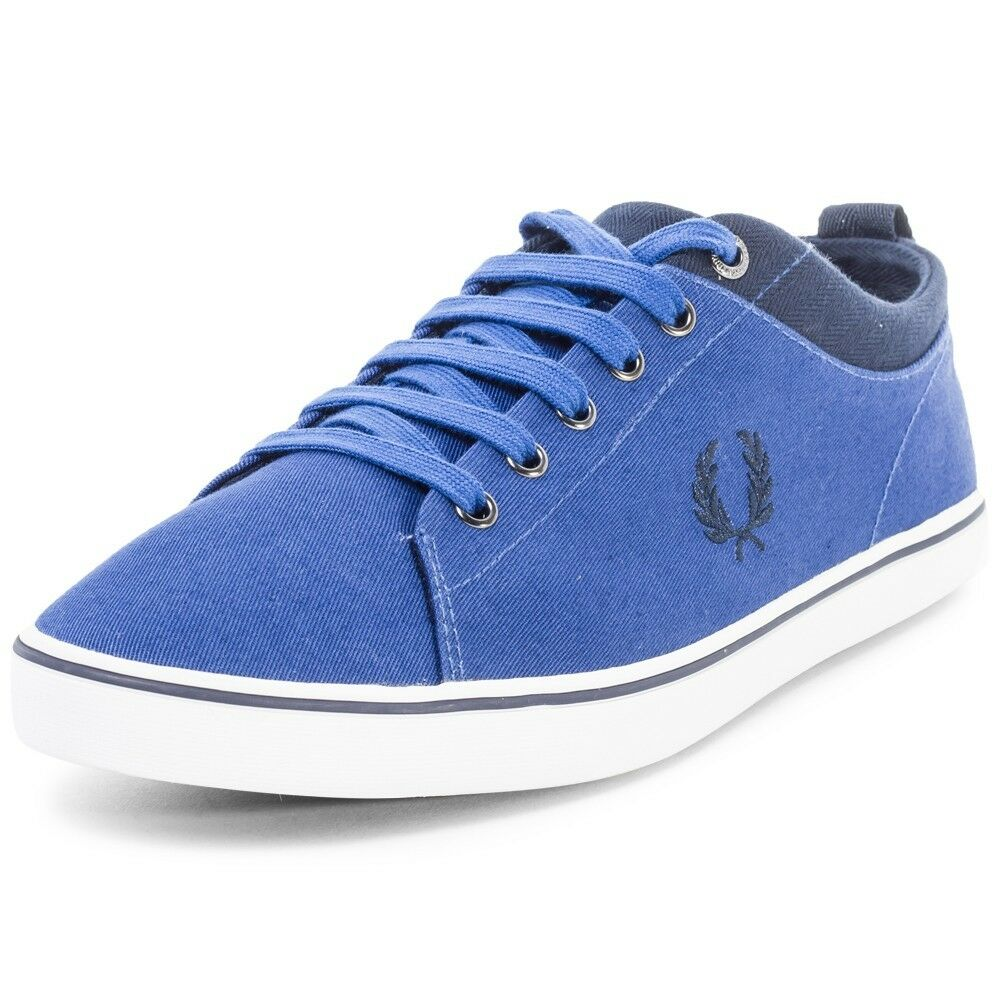 Fred Perry Men's Hallam Twill Canvas Trainers shoes B8272-955 - Royal bluee