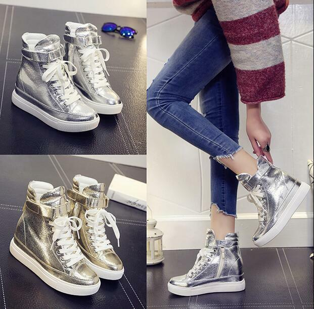 Womens Lace Up High Top shoes Casual Sneakers Wedge Hidden Heel High Top Running