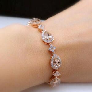 Elegant-Natural-Diamond-Pear-Pink-Morganite-Fashion-Women-Bracelet-14K-Rose-Gold