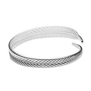 New-Fashion-Women-039-s-Silver-Plated-Feather-Open-Cuff-Bangle-Bracelet-Jewelry-LE