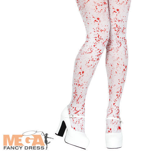 White Blood Spattered Tights Halloween Fancy Dress Costume Zombie Accessory