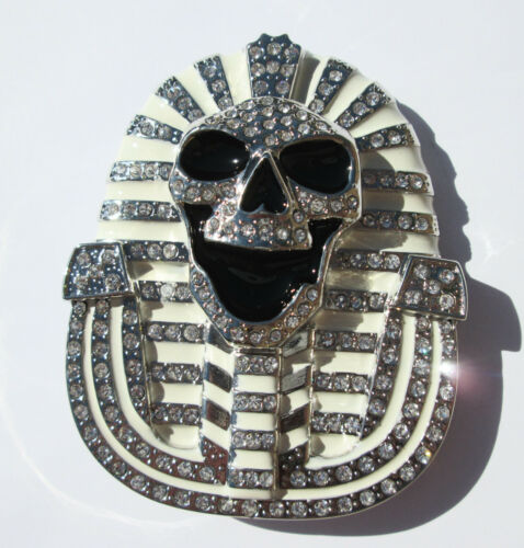 White /& Chrome Spinx Belt Buckle Free Shipping