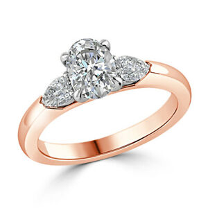 2.50 Ct Oval Cut Moissanite Anniversary Superb Ring 18K Solid Rose Gold Size 6 7