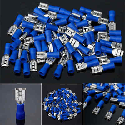 100 X Blue 6.3mm Female Spade Insulated 16-14AWG Wire Crimp Terminal Connectors