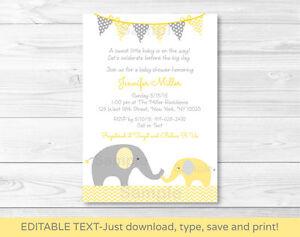 Yellow Elephant Chevron Mom Baby Printable Baby Shower Invitation