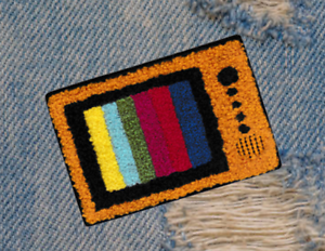 Cool vintage style chenille retro tv television patch cm