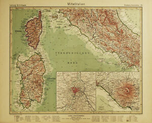 Cartina Geografica Italia Napoli.Italia Centrale Roma Napoli Carta Geografica Originale Atlante