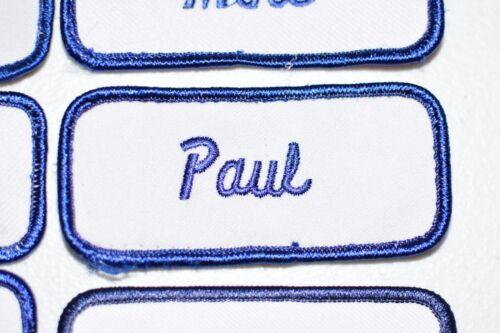Blue Embroidered Name Tag Patch for Workshirt Uniform Salesmen Mechanic Service