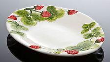 Bassano ovale italienische Keramik Obstschale Früchte Erdbeeren Reliefen 42x31