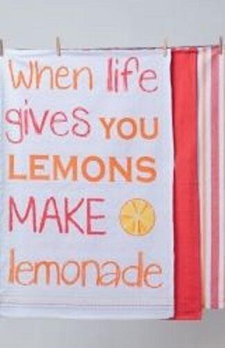 When Life Give You Lemons Make Lemonade Tea Towels  - Set of  3 by Ladelle