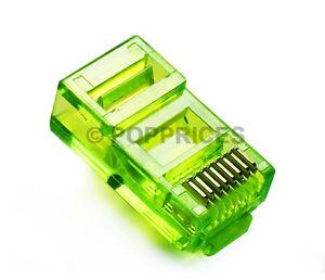 50Pcs-RJ45-CAT5e-CAT5-Colored-Modular-Plug-Network-Connector-Green