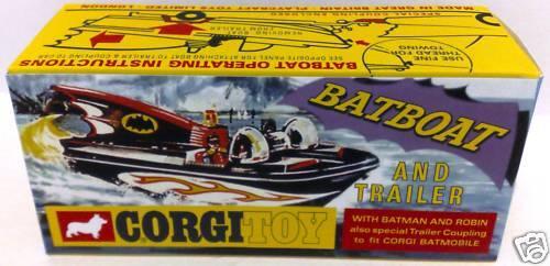 Batman 1966 CORGI Toys 107 BATBOAT /& Trailer Reproduction Box on Grey Card