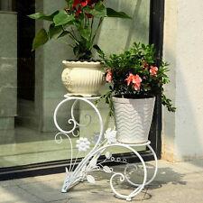 2 TIER White Iron Flower Pot Plant Stand Home Garden Patio Decor Bonsai  Holder