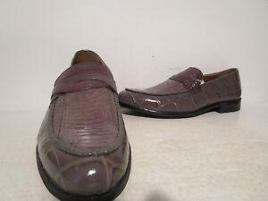 7ecea981ea6 Stacy Adams Mens Corsica 25027 Snakeskin Slip On Penny Loafers Gray ...