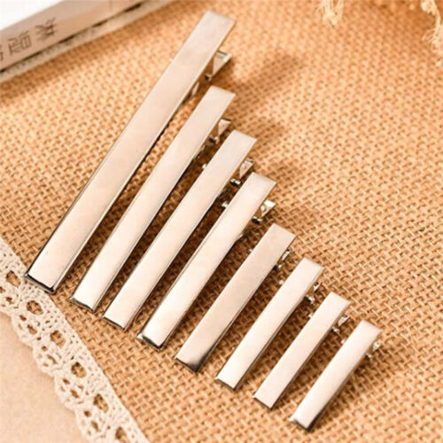 20pcs New Silver Metal Single Prong Alligator Hair Clips Barrette DIY Hairpin HU