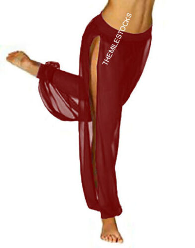TMS Slit Harem Yoga Pant Belly Dance Trouser Hippy Pantalon Maroon 25 Color