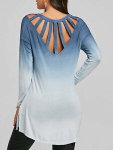 27726824428f Details about Women Tops Blouse T-Shirt Tunic Cut Out Back Ombre Color High  Low Long Sleeve
