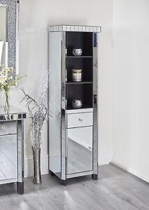 Mirrored Tall Display Cabinet Unit Bathroom Lounge Hall