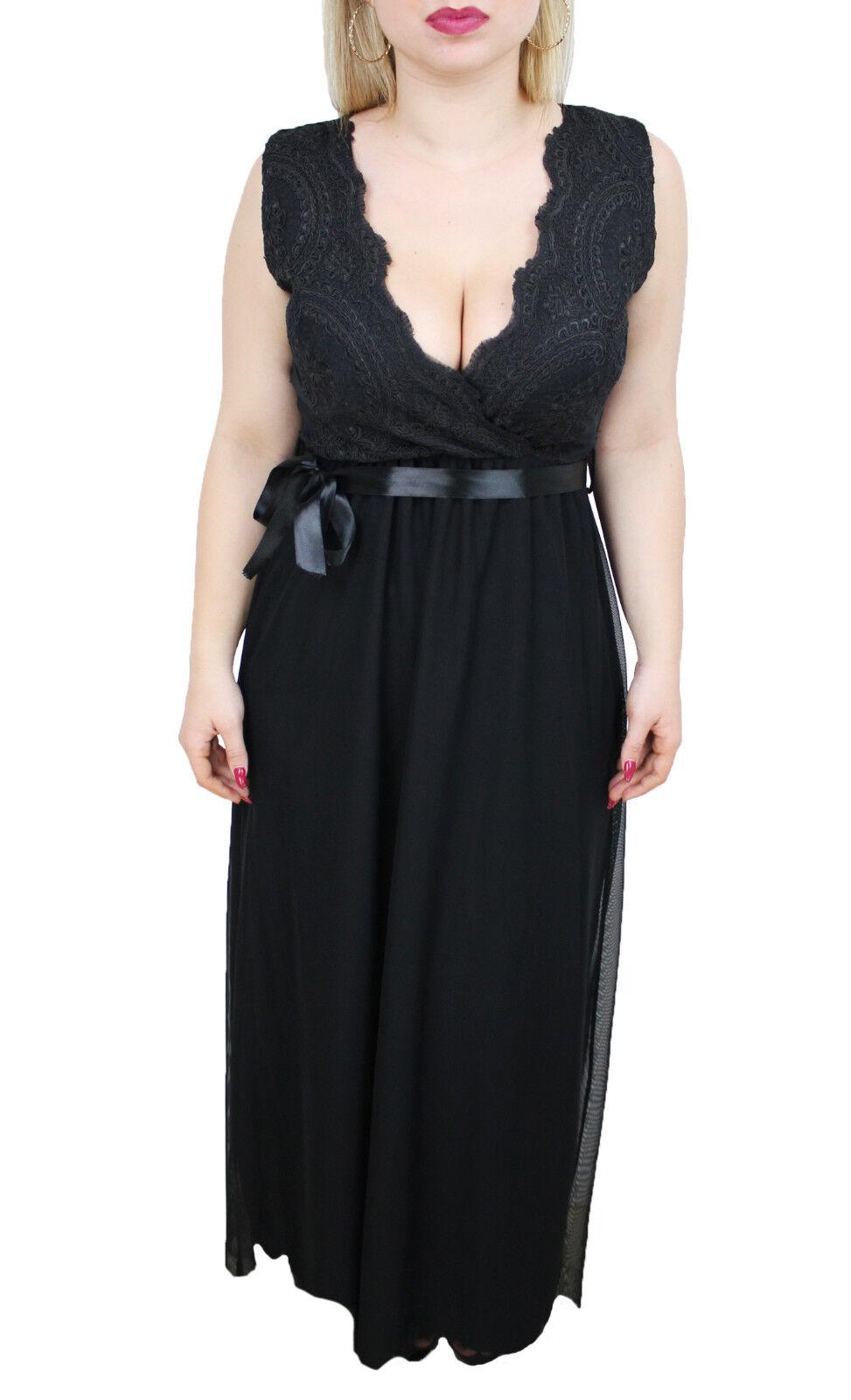 6050 - Kleid Frau schwarz lang 100% made in in in  Kleid Spitze élégant Spitze 38b593