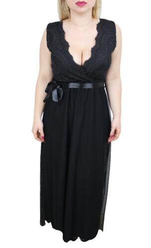 Italy Donna Made 6050 Nero In 100 Pizzo Elegante Vestito Abito Lungo Merletti xS0q07a4