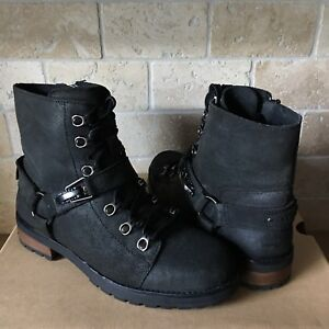 c4d6d7ed64f Details about UGG Fritzi Black Water-resistant Leather Wool Combat Short  Boots Size 9 Womens