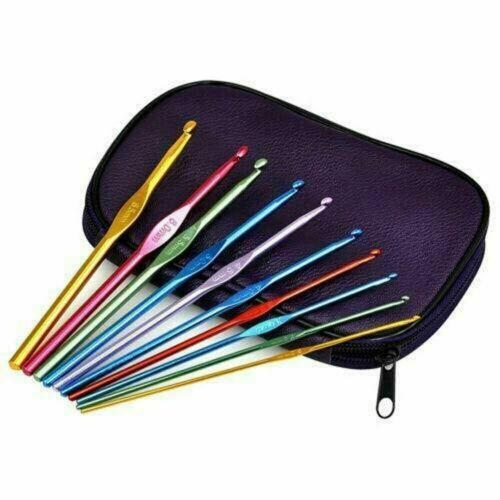 Aluminum Crochet Hooks Needles Knit 22pcs Set Weave Craft Yarn Multi Color NEW