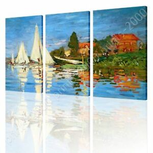 Regatta-At-Argenteuil-by-Claude-Monet-Ready-to-hang-canvas-3-Panels-Wall-art