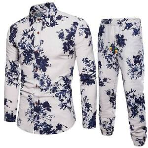 Luxury-tops-men-039-s-dress-shirt-long-sleeve-t-shirt-slim-fit-formal-casual-floral