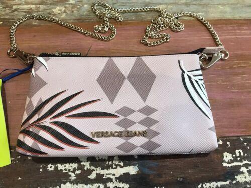 rosa con del Versace floral bolso cremallera cuerpo Bnwt cruzada Jeans Z4cB5