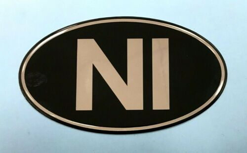 CHROME on BLACK GLOSS DOMED GEL Northern Ireland NI Retro Oval 100mm Sticker