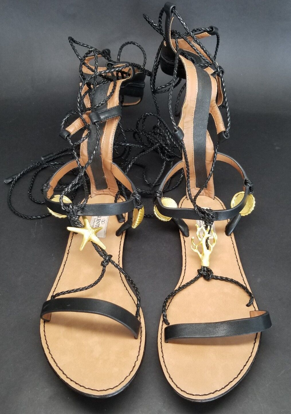 Valentino Gladiator Knee High Lace Up Sandals SEA ELEMENTS STARFISH SHELLS sz 36