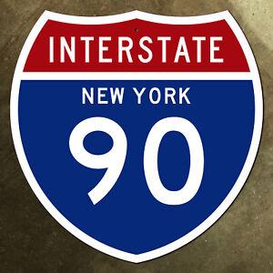 New York interstate route 90 highway marker road sign 36x36 1957 Thruway