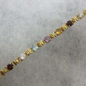 Modernes-DAMEN-ARMBAND-585-Gelbgold-12-Gramm-19cm-Bunte-Halbedelsteine