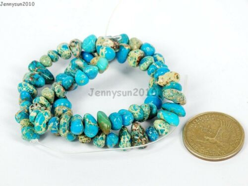 Natural Sea Sediment Jasper Gemstone Freeformed Nugget Loose Beads 15.5/'/' Blue
