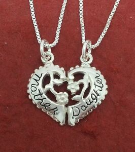 Mother-Daughter-Necklaces-sterling-silver-Solid-925-charm-pendants-n-chains-Mum