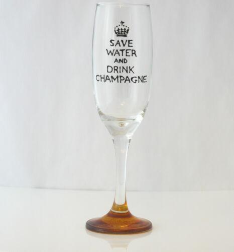 Regalo Para Amigo que le gusta Fizz ahorrar agua y beber champán flauta Pintado A Mano