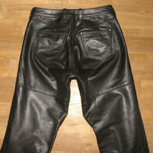 POLO-BLACK-ROOSTER-Herren-LEDERJEANS-Biker-Lederhose-schwarz-ca-W31-034-L35-034